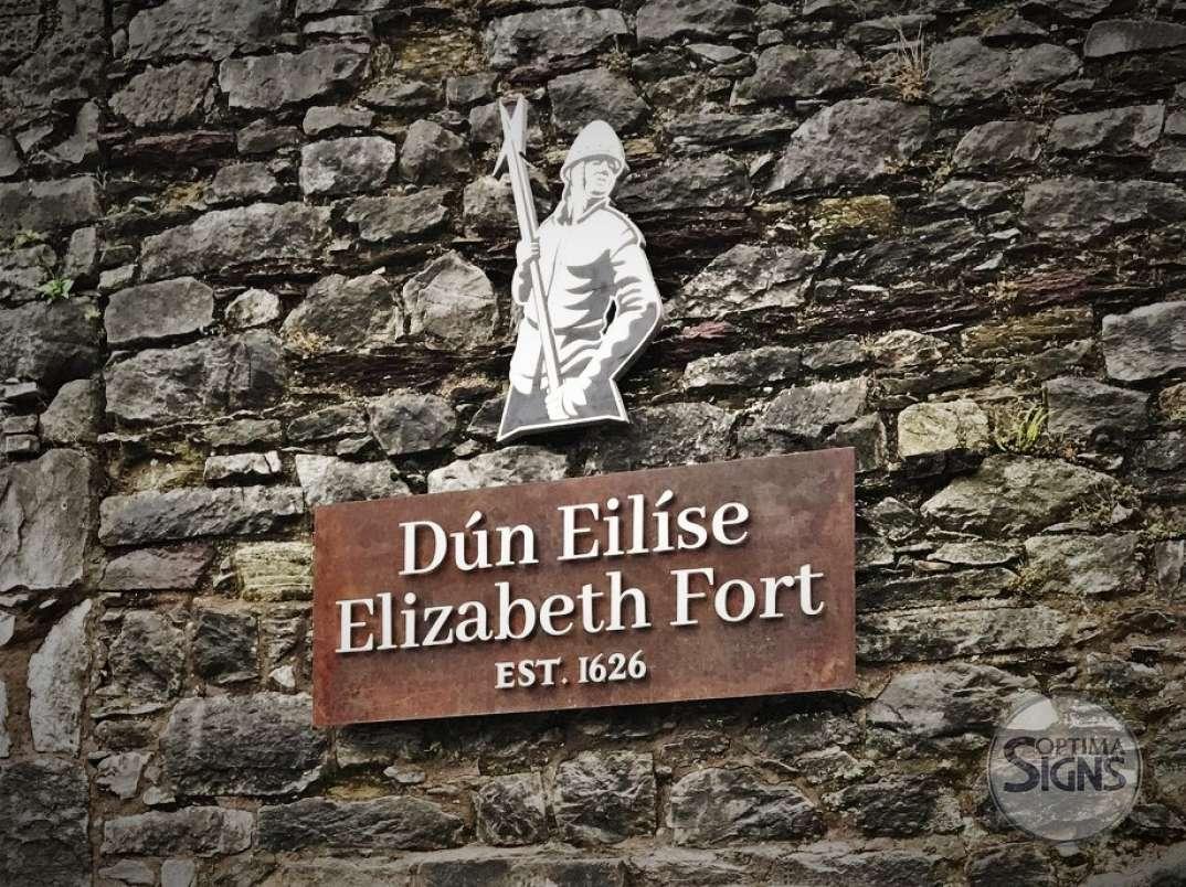 Elizabeth Fort Cork Sign Corten steel raised letters signage