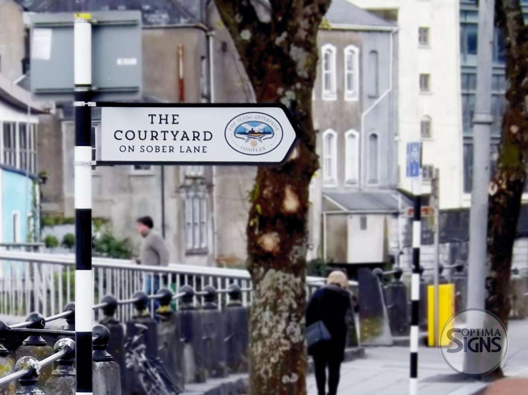 The Courtyard on Sober Lane fingerpost sign
