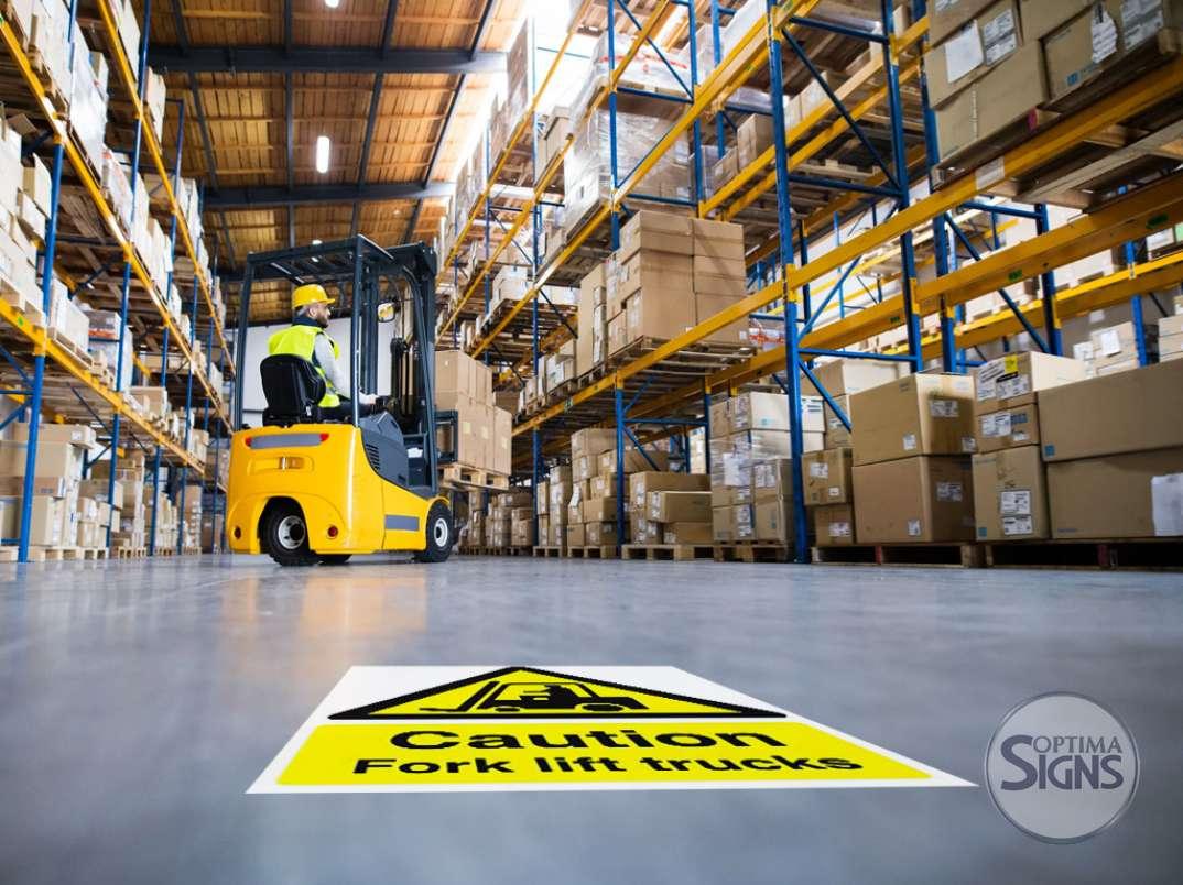 Fork lift truck safety indoor sticker