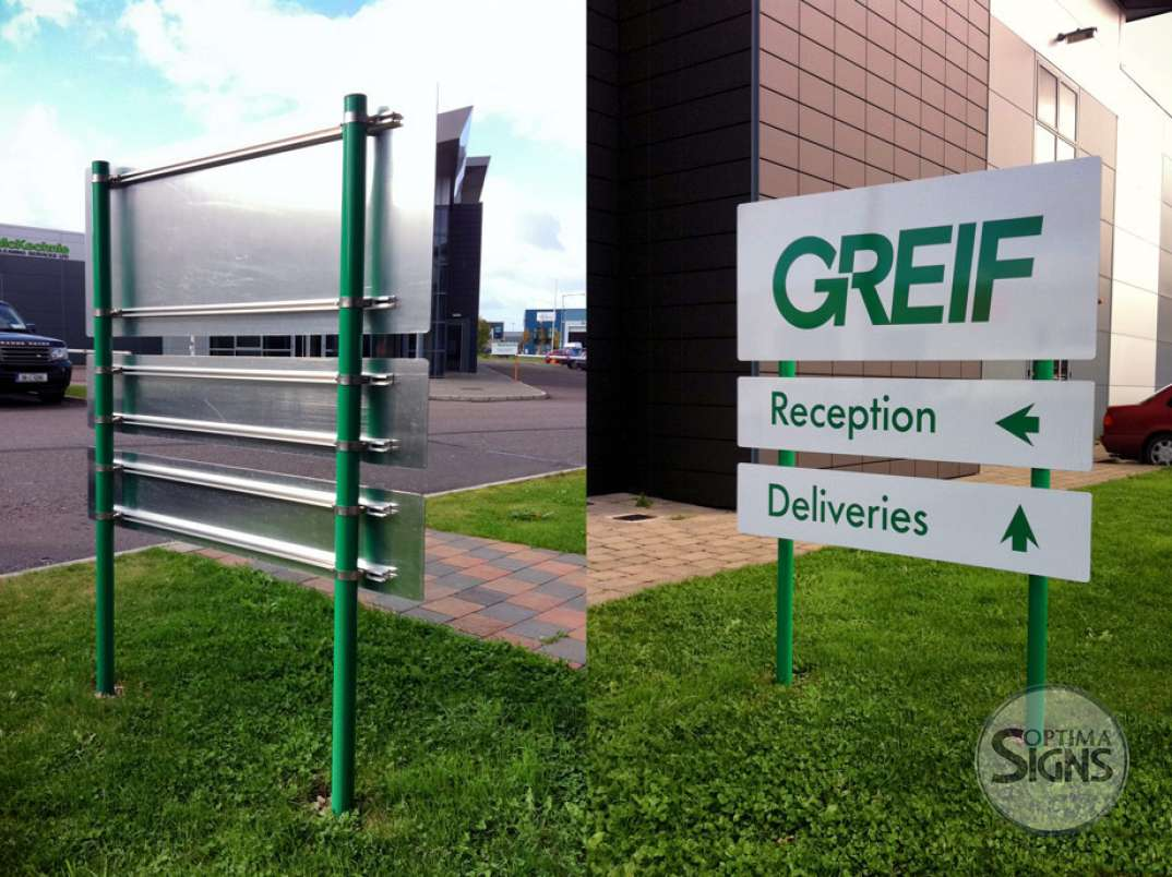 Greif post and panel sign