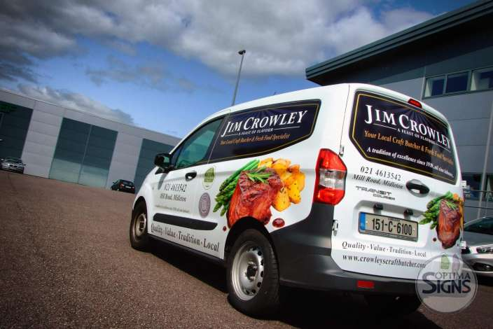 Jim Crowley Craft Butchers car sign writing