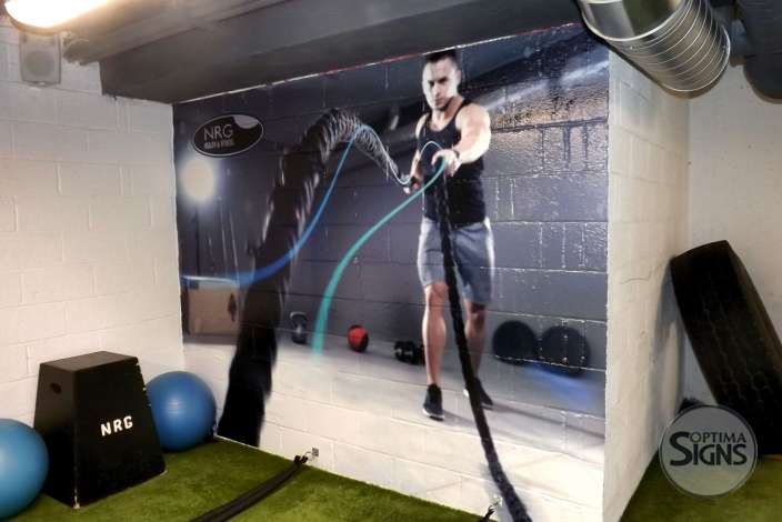 NRG fitness wall graphic Cork